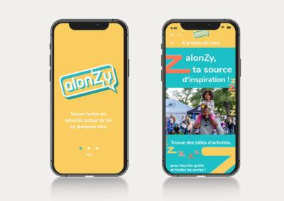 Application mobile alonZy : splashscreen et page à propos
